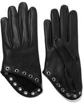 Alexander McQueen Eyelet-embellished Leather Gloves - Black
