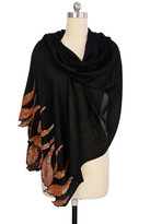 Saachi Black Sequins Feathers Border Merino Wool Wrap