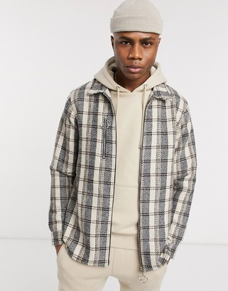 Couture The Club zipped front checked overshirt in light check-Brown