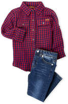 7 For All Mankind Toddler Boys) Two-Piece Gingham Shirt & Jeans Set