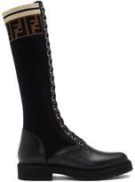 Fendi Black Tall Rockoko Combat Boots