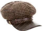 Dolce & Gabbana Wool-Blend Leather Trimmed Cap