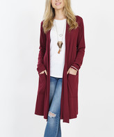 Lydiane Women's Open Cardigans DK - Dark Burgundy Long-Sleeve Slouchy-Pocket Open Cardigan - Women & Plus