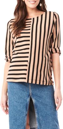 Loyal Hana Maternity Tory Striped 3/4-Sleeve Shirt