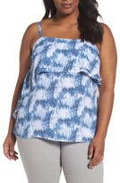 Sejour Plus Size Women's Double Ruffle Camisole Top