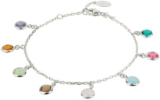Latelita Florence Multi Coloured Gemstone Bracelet Silver