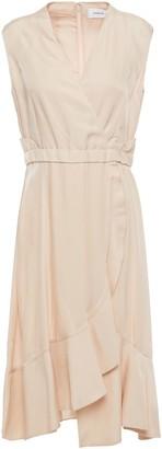 Carven Wrap-effect Ruffled Twill Dress