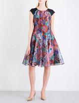 Armani Collezioni Cap-sleeve floral-jacquard dress