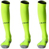 TULUO 3 Pairs Over Knee High Soccer Socks Green Black White