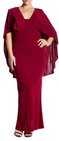 ABS by Allen Schwartz Popover Cape Gown (Plus Size)
