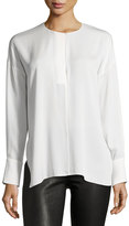 Vince Keyhole-Front Long-Sleeve Silk Blouse, Office