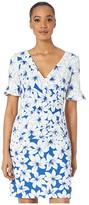 Adrianna Papell Graphic Lily Draped A-Line Dress w/ Flounce Sleeve (Blue Multi) Women's Dress