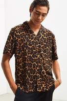Urban Outfitters Leopard Rayon Short Sleeve Button-Down Shirt