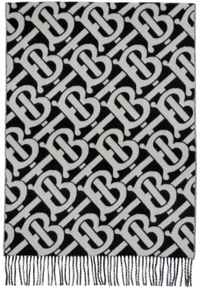 Burberry Black and White Cashmere Monogram Scarf