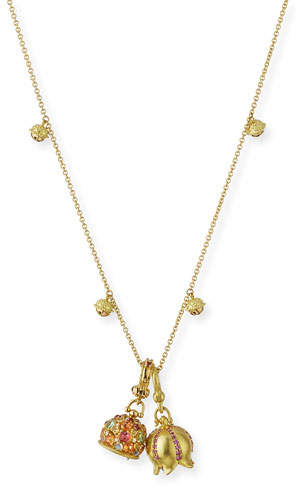 "Paul Morelli 18k Gold Mini Jingle Bell Necklace, 28""L"