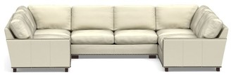 Pottery Barn Turner Square Arm Leather U-Shaped Sectional With Nailheads