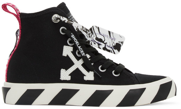 Off-White Black and White Vulcanized Mid-Top Sneakers