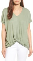 Bobeau Women's Twist Front V-Neck Tee