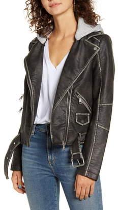 Vigoss Hooded Washed Faux Leather Moto Jacket