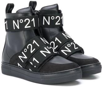 No.21 Kids logo trouch-strap boots