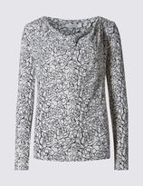Marks and Spencer Rose Print Cowl Neck Long Sleeve Jersey Top
