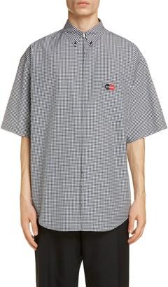 Balenciaga Vichy Gingham Zip Front Cotton Poplin Button-Down Sport Shirt