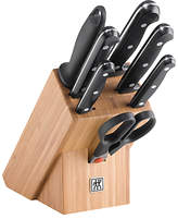 Zwilling Twin Chef Wood Knife Block and Knife Set, 8 Pieces