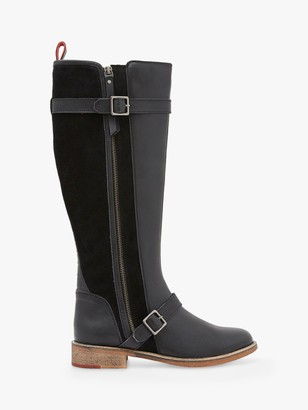 White Stuff Brit Buckle Leather Calf Boots, Pure Black