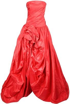 Oscar de la Renta Silk Gathered Floor-Length Gown