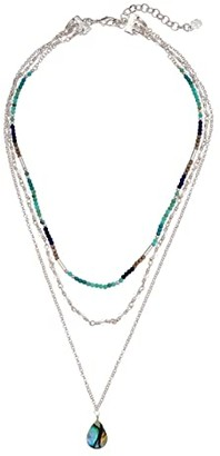 Lucky Brand Geode Layered Beaded Stone Necklace (Silver) Necklace