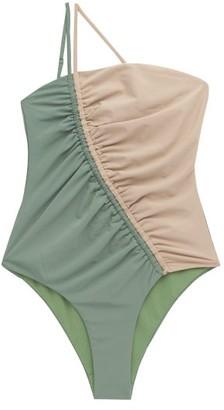 Isa Boulder - Leonard Asymmetric Bi-colour Swimsuit - Womens - Green Multi