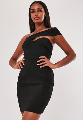 Missguided Premium Black Bandage One Shoulder Bodycon Mini Dress