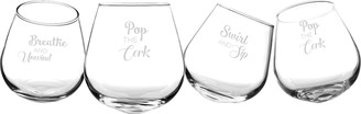 Cathy's Concepts Pop the Cork Tipsy Set of 4 Stemless Wine Glasses