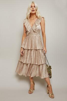 Little Mistress Aleksey Cream And Gold Spot Satin Tiered Midi Dress
