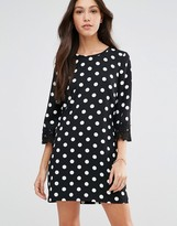 Traffic People Penny Smiles Dress In Polka Dot With Crochet Trims