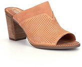 Toms Majorca Perforated Nubuck Peep Toe Stacked Block Heel Mules