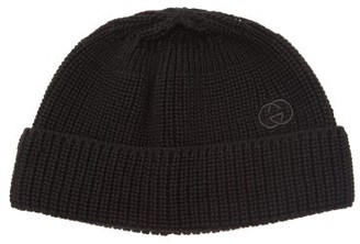 Gucci GG-embroidered Cotton-knit Beanie - Mens - Black