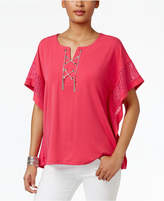 JM Collection Chain Lace-Up Poncho, Created for Macy's