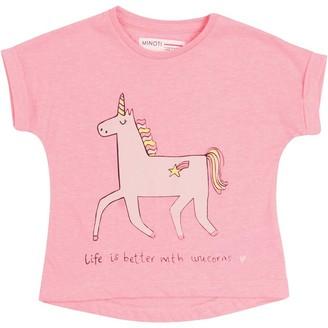 MINOTI Baby Girls Unicorn T-Shirt Pink