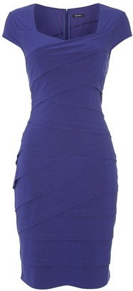 Roman Originals - Womens Shutter Pleat Pleated Waist Shift Dress - Smart Plus Size Fashion - Ladies Purple Size 18