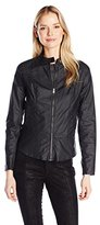 DKNY Women's Coated Moto Jacket