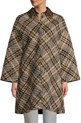 Valentino Nera Oversized Plaid Coat