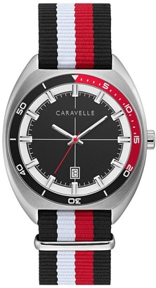 Caravelle by Bulova Mens 43B168 NATO Blk, Red, White Nylon Strap Watch