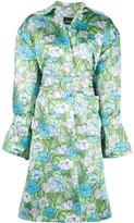 Richard Quinn floral-print belted flared dress