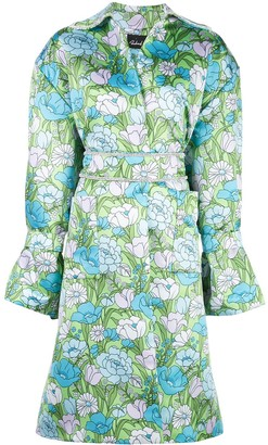 Richard Quinn Floral-Print Belted Flared Dress