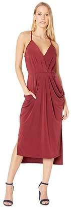 BCBGeneration Faux Wrap Midi Dress (Deep Red) Women's Dress