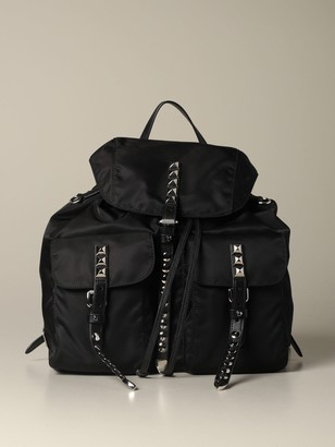 Prada Nylon And Leather Backpack With Metal Studs And Logo
