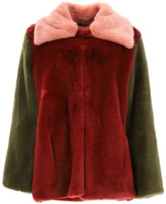L'Autre Chose MULTICOLOR FAUX FUR PEACOAT 38 Khaki, Pink, Red Faux fur
