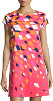 Julie Brown Geometric Print Shift Dress, Red Burst