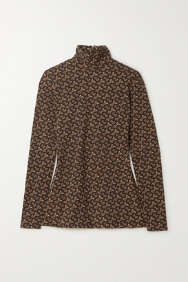 Burberry Printed Stretch-jersey Turtleneck Top - Brown